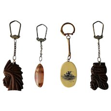 Mid-Century Souvenir Keychains ~ Scrimshaw, Brazil Coins, Agate key chains