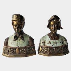 Classical 1920's 'DUTCH' Bookends ~ #140 Pompeian Bronze Company