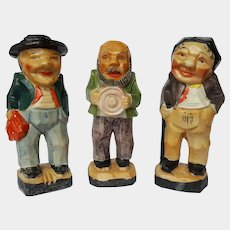 SCARCE Art Deco CUBIST 3 Old Men figurines ~ Made in Japan ~ circa 1930