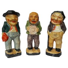 SCARCE Art Deco CUBIST 3 Old Men figurines ~ Made in Japan ~ circa 1930
