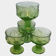 CABARET champagne or sherbet glasses ~ Apple Green ~ late-1970's Tiffin-Franciscan