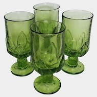 Apple Green CABARET footed tea glasses ~ 1970's Tiffin Franciscan