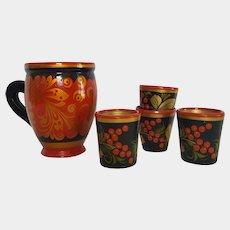 1970's Russian KHOKHLOMA ~ hand-painted & lacquered Folk Art cup & shot glasses