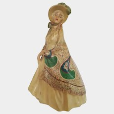 SCARCE~ 1940's Southern Belle Chalk Ware ~ paisley shawl, feather bonnet and parasol