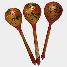 1970's KHOKHLOMA ~ hand-painted Russian Folk Art Spoons ~ USSR