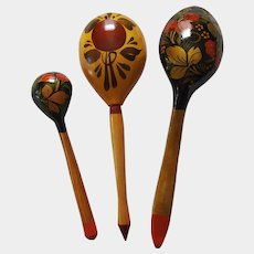 KHOKHLOMA ~ 1970's hand-painted Russian Folk Art Spoons ~ USSR