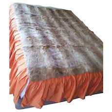 Vintage-Vogue PELES  POLO  NORTE ~ all original bed cover made with Rabbit Fur & Taffeta ~ circa 1960 Brazil