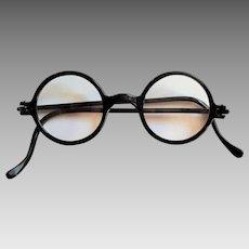 Authentic RARE Black Round Windsor Eyeglass Readers ~ circa 1920 Art Deco Era