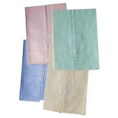 15x Vintage Embroidery Linen Napkins ~ Easter Colors