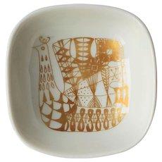 Vintage Norwegian Porcelain trinket Dish with Gold colored Retro Peacock design ~ PORSGRUND NORWAY ~ 1971