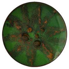 Organically Modern, Enamel on Copper Plate ~ Green & Blue ~ circa 1970
