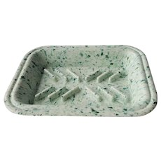 Green Speckled Splatter ware Melamine Soap Dish ~ circa 1950