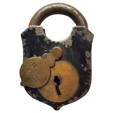 Mallory, Wheeler & Company Wrought Steel and Iron Padlock ~ mid-1800's