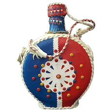 1966 Yugoslavia Folk Art ~ Leather Covered Souvenir Liquor Bottle Flask in Primary Block Colors