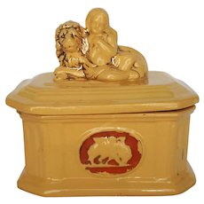 SCARCE Antique ~ Yellow Ware Box with Angel & Lion Lid ~ Revival Period
