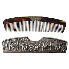 'Spritzer & Fuhrmann' Denmark ~ circa 1930 ~ Silver-plated Vanity Repousse Hair Comb with Sheath - Red Tag Sale Item