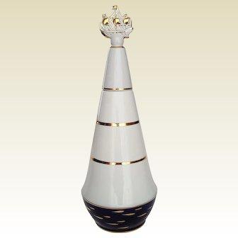 LOMONOSOV ~ Porcelain liquor vodka Decanter with matching Shot glass from Russia ~ c. 1968 USSR