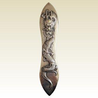 SCARCE ~ 'Arthur & Bond Yokohama Sterling' Silver Japanese DRAGON Brush ~ late-19th century
