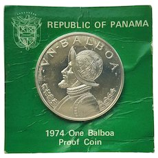 1974 One Silver Balboa Proof Coin ~ Republic of Panama ~ U.S. Mint