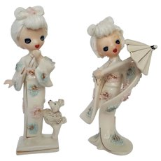 Japanese Spaghetti Girls ~ Oriental Porcelain Figurines by 'UCAGCO Ceramics Japan' ~ circa 1945
