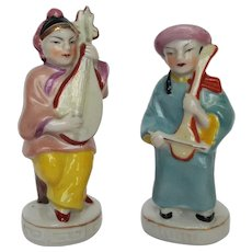 Musical CHINESE Couple porcelain figurines ~ Made in Occupied Japan