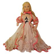 LENCI Type Felt Doll with Southern Pink Organdy Dress ~ circa 1930 ~ parts or repair project