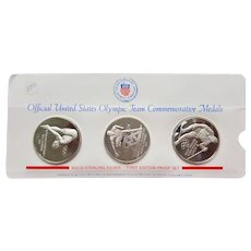 First Edition Proof Set of Three US Olympic Team Sterling Silver Commemorative Medal Coins ~ 1971 & 1972