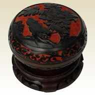 Vintage Chinese Lacquer Enamel Trinket Box ~ Heavily Carved Red & Black Cinnabar ~ circa 1970
