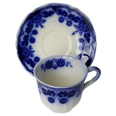 Antique 1899, FLOW BLUE Demitasse Cup & Saucer ~ STANLEY pattern ~ Johnson Bros. England