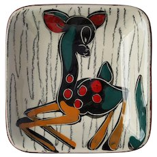 Attractive RETRO Deer Fawn trinket dish lined with ITALIAN Leather ~ circa 1965