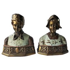 Pompeian Bronze Co. 'Dutch' Bookends ~c.1920's