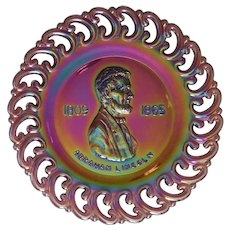 President LINCOLN~ 1971 Limited Edition ~ Purple Amethyst Carnival Glass Plate