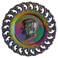 President KENNEDY ~ 1971 Limited Edition ~ Black Amethyst Carnival Glass Plate