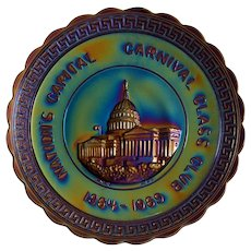 Nation's Capital Carnival Glass Club, 1969 Souvenir Plate ~ IMPERIAL ~ Electric Iridescent Glass