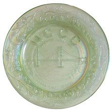 Northern California Carnival Club, 1978 Souvenir GOLDEN GATE Bridge Plate ~ WETZEL, Ice Green Glass
