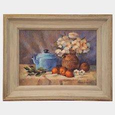 Original BRANKO Velkovich still life oil painting ~ Tea Pot, Daisies & Oranges ~signed 1991
