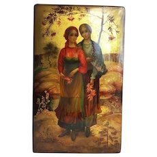 'Autumn Peasant Girls' Russian Palekh Lacquer Box ~artist: Yelena Khomutinnikova, 1981