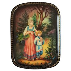 Russian Folktale of 'Sister Alyonushka and Brother Ivanushka' ~ Palekh Lacquer Trinket Box ~ Artist Signed