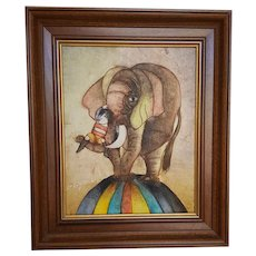 Circus Boy and Elephant ~ original framed painting on canvas ~ signed Joyce Royball