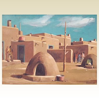 Original BRANKO Velkovich oil painting ~ Taos, New Mexico Pueblo ~ signed 1982
