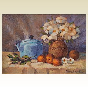 Original BRANKO Velkovich still life oil painting ~ Tea Pot, Daisies & Oranges ~signed 1991