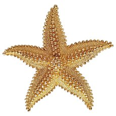 Whimsical, Gold-plated STARFISH Brooch by MONET ~ circa 1970