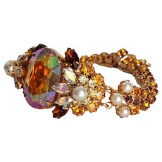 Vintage Aurora Borealis Topaz colored Faceted Glass Bracelet with Rhinestones and Simulated Pearls ~ c. 1960