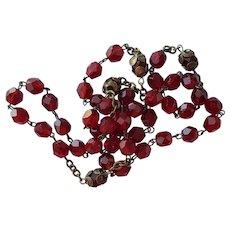 Deep Red, Preciosa Czech Glass Crystal Beaded Necklace