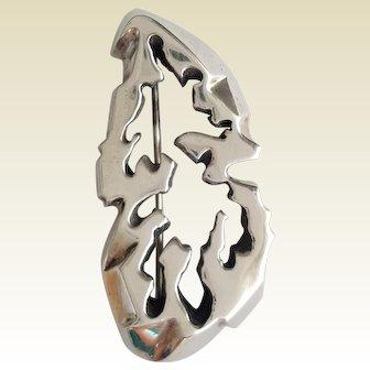 Organic Modernist Brutalist, Sand Cast Sterling Silver pin ~ circa 1965 ~ Mid Century