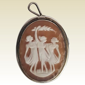 'Three GRACES' Shell CAMEO ~ 800 Silver Brooch Pendant ~ circa 1925