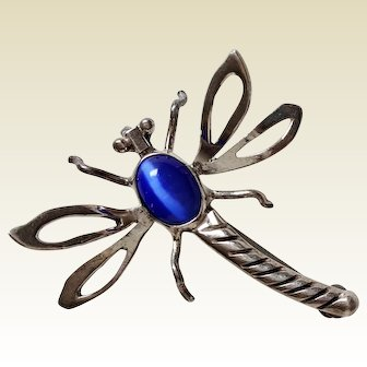 Vintage DRAGONFLY ~ Sterling Silver and Blue Stone Pin Pendant