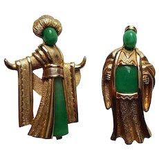 MARVELLA ~ Vintage 1950's PEKING Green Glass, Asian ~ Oriental Brooches