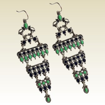 Unique Gypsy TRIBAL Dangle Earrings ~ royal blue, sea green, silver-tone