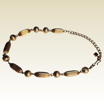 vintage Gold-toned textured Beads chain Choker ~ circa 1950